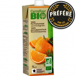 Jus d'orange bio 100% pur fruit pressé Carrefour Bio